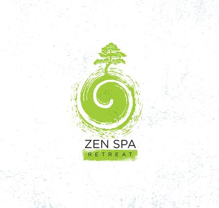 Concepto de Zen Spa Wellness Holistic Retreat Organic Sign. Ilustración del árbol en el remolino sobre fondo con textura áspera