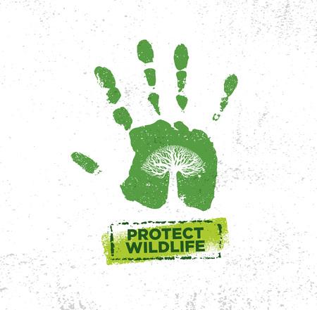 盆栽の木のイラストでグランジテクスチャラフに野生生物エコモチベーション引用ベクトルタイポグラフィバナーデザインコンセプトを保護 写真素材 - 96053922