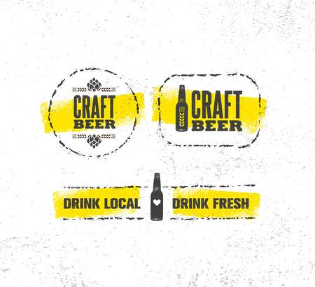 Craft Beer Brewery Artisan Creative Vector Sign Concept. Rough Handmade Alcohol Banner.