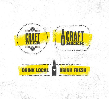Craft Beer Brewery Artisan Creative Vector Sign Concept. Rough Handmade Alcohol Banner.