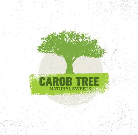 Carob Tree Natural Sweets Organic Food Illustration On Grunge Background