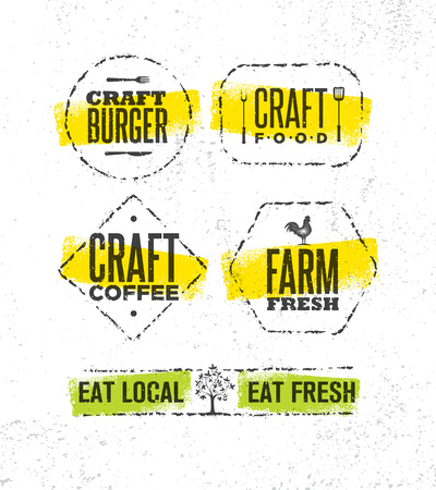 Craft Beer Brewery Artisan Creative Sign Concept vector illustration set Illustration
