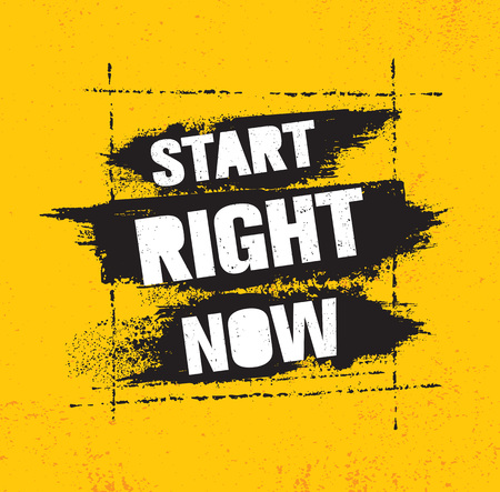 Start Right Now. Inspiring Creative Motivation Quote Poster Template With Brush Stroke. Vector Typography Banner Design 向量圖像
