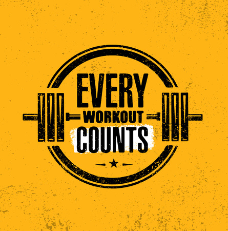 Every workout counts. Sport motivation quote. Fitness motivational saying. Vector grunge typography Vettoriali
