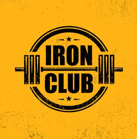 Iron Club. Gym Workout Barbell Stamp Vector Design Element Illustration