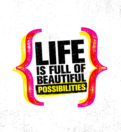 Life is full of beautiful possibilities, inspiring creative motivation quote poster template vector typography banner. Standard-Bild - 100519185