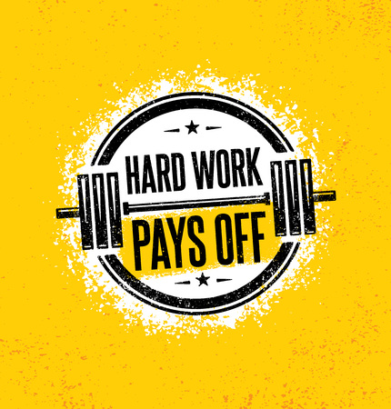Hard Work Pays Off. Inspiring Workout and Fitness Gym Motivation Quote Illustration Sign. Creative Strong Sport 矢量图像