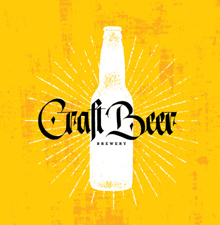 Craft Beer Brewery Artisan Creative Vector Stamp Sign Concept. Rough Handmade Alcohol Banner.