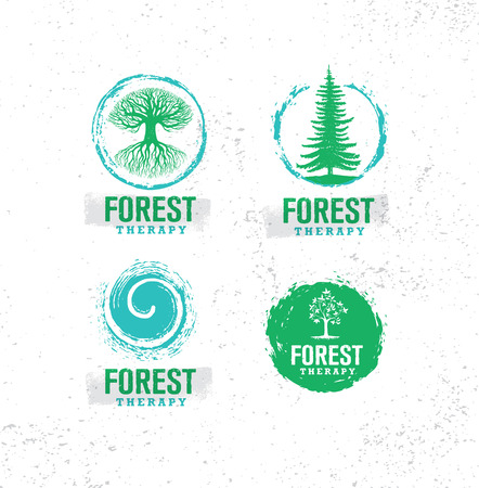 Forest Therapy Guide. Nature Friendly Coaching Illustration Concept. Eco Organic Vector Design Element.