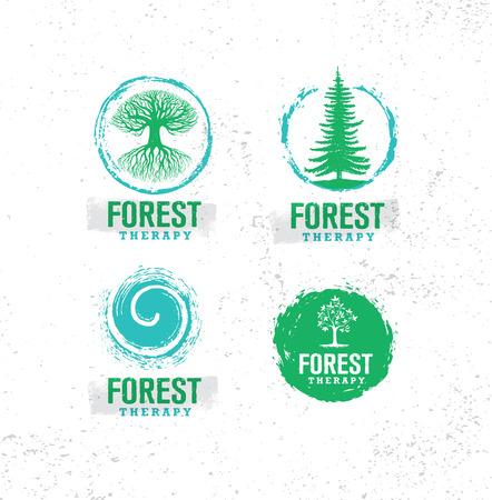 Przewodnik po terapii leśnej. Koncepcja ilustracja coaching przyjazny dla przyrody. Element projektu ekologicznego wektora ekologicznego. Ilustracje wektorowe
