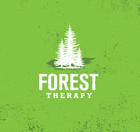 Forest Therapy Guide. Nature Friendly Coaching Illustration Concept. Eco Organic Vector Design Element