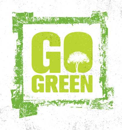 Go Green Creative Vector Eco Green Design Element. Organic Bio Concept On Natural Rough Background