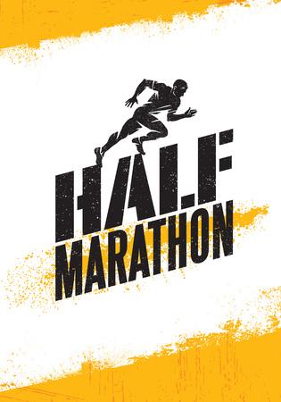 Mezza maratona attiva evento sportivo banner pubblicitario concetto. Elemento di design sportivo creativo su grezzo. Vettoriali