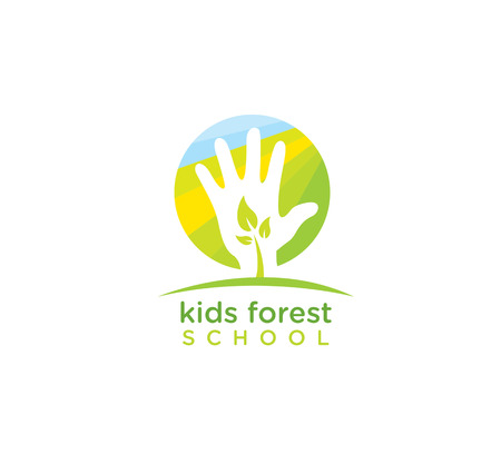 Kids Forest School. Nature Friendly Vector Design Element With Sprout And Hand