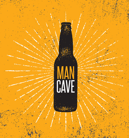 Man Cave Rules With Beer Bottle. Creative Poster Design Concept With Grunge Frame And Rough Distressed Texture