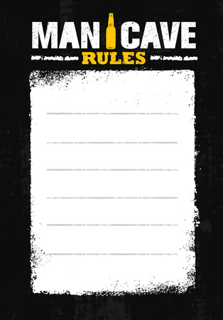 Man Cave Rules. Creative Poster Design Concept With Grunge Frame And Rough Distressed Texture Illustration