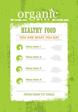 Organic Paleo Rough Food Menu Concept. Eco Green Grunge Frame Design Element On Textured Background.