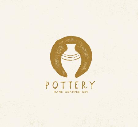 Handgemaakte Clay Pottery Workshop. Artisanaal creatief ambachtelijk tekenconcept. Organische Illustratie Op Gestructureerde Achtergrond. Vector Illustratie