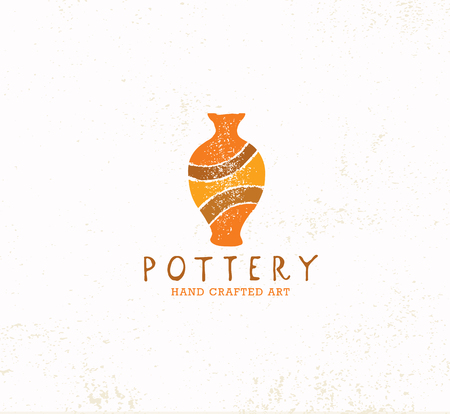 Handmade Clay Pottery Workshop. Artisanal Creative Craft Sign Concept. Organic Illustration On Textured Background. Illustration