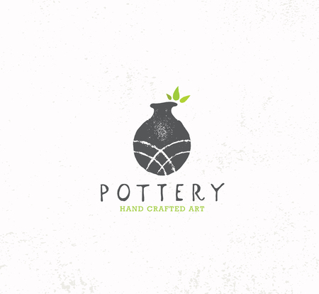 Handmade Clay Pottery Workshop. Artisanal Creative Craft Sign Concept. Organic Illustration On Textured Background. Иллюстрация