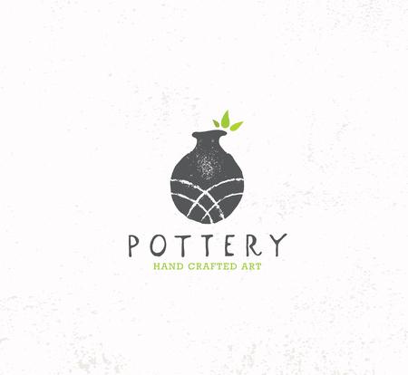 Laboratorio di ceramica di argilla fatta a mano. Concetto di segno di artigianato creativo artigianale. Illustrazione Organica Su Sfondo Con Texture.