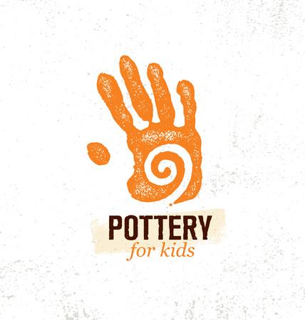 Craft Art Pottery Workshop For Kids. Hand Print With Swirl Inside. Illustration