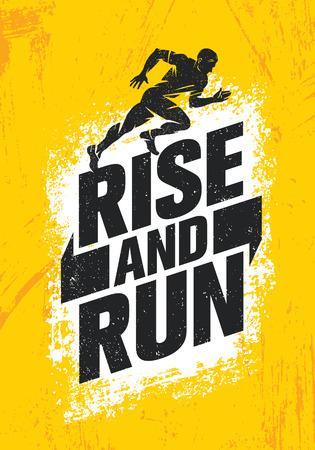 Rise And Run. Marathon Sport Event Motivation Quote Poster Concept. Active Lifestyle Typography Illustration On Grunge Background WIth Texture Ilustração