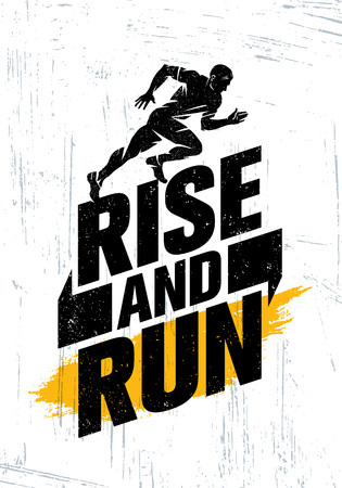 Rise And Run. Marathon Sport Event Motivation Quote Poster Concept. Active Lifestyle Typography Illustration On Grunge Background WIth Texture Ilustração