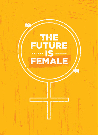 The future is female. Bright Inspiring Motivation Poster Design Ilustração