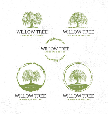 Willow Tree Landscape Design Creative Vector Nature Friendly Sign Concept. Sustainable Eco Illustration On Rough Textured Background. Standard-Bild - 114792791