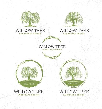 Willow Tree Landschaftsgestaltung kreative Vektor Natur freundliches Zeichen Konzept. Nachhaltige Öko-Illustration auf rauem strukturiertem Hintergrund.