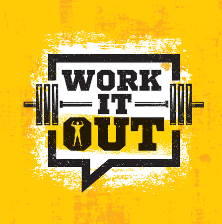 Workout and Fitness Gym Strong Design Element Concept. Sport Motivation Quote. Rough Vector Sign On Grunge Background Ilustração