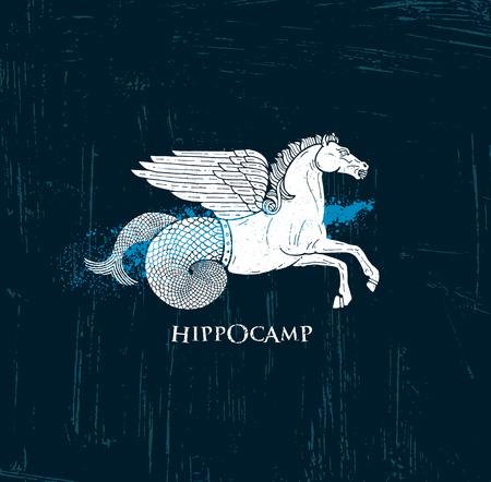 Horse With Pegasus Wings And Mermaid Tail Hippocampus. Mythology Creature Illustration On Grunge Rough Background With Brush Splash. Stock Illustratie