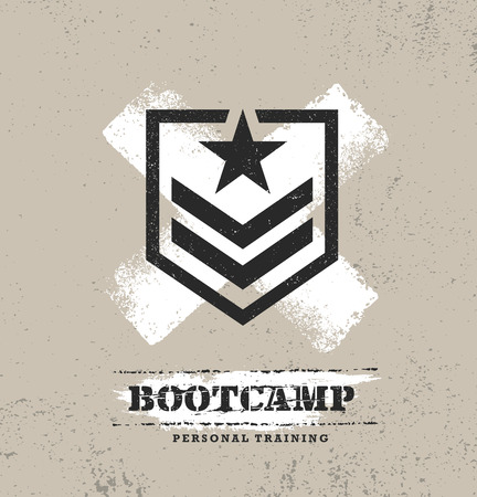 Fitness Body Training Extremsport Outdoor Bootcamp grobe Vektorkonzept. Kreative strukturierte Gestaltungselemente auf beunruhigtem Schmutzhintergrund. Vektorgrafik