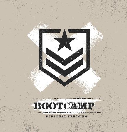 Fitness Body Training Sport estremo Bootcamp all'aperto concetto approssimativo di vettore. Elementi di design testurizzati creativi su sfondo grunge afflitto. Vettoriali