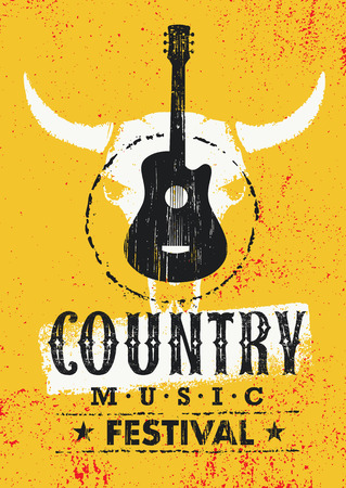 Country Music Festival Creative Vector Textured Poster Concept With Guitar and Cow Skull Illustration