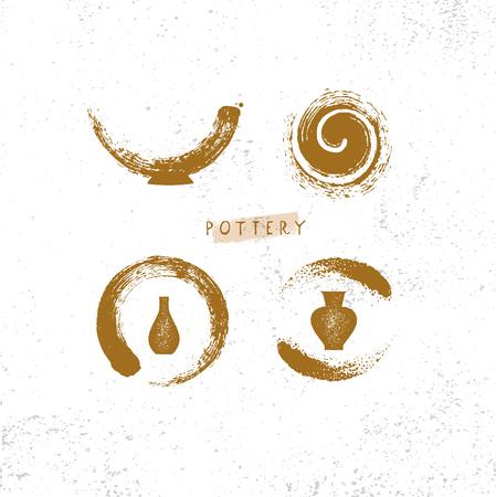 Taller de alfarería artesanal de barro. Concepto de signo de artesanía creativa artesanal. Ilustración orgánica sobre fondo rugoso con textura.
