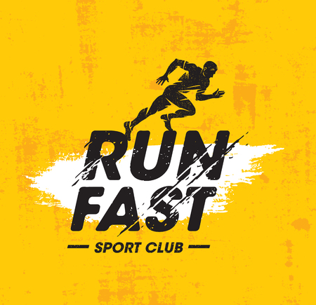 Run Fast Sport Club Creative Vector Illustration On Rough Texture Yellow Background.