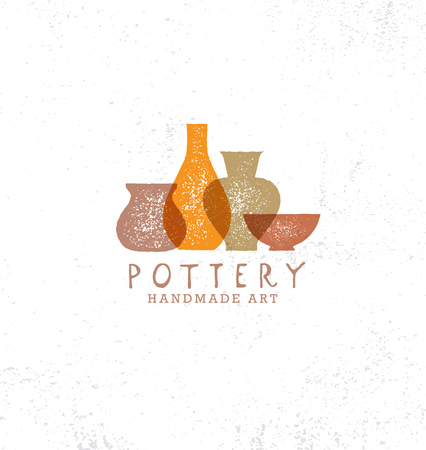 Handmade Clay Pottery Workshop. Artisanal Creative Craft Sign Concept. Organic Illustration On rough background Stock fotó - 110859657