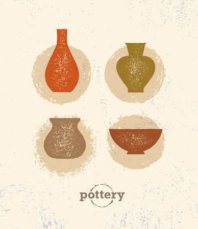 Handmade Clay Pottery Workshop. Artisanal Creative Craft Sign Concept. Organic Illustration On rough background