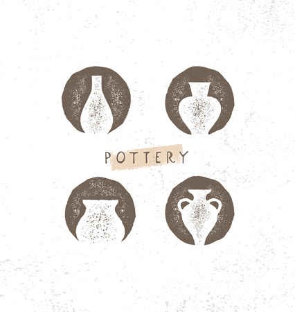 Handmade Clay Pottery Workshop. Artisanal Creative Craft Sign Concept. Organic Illustration On Textured Rough Background. Illustration