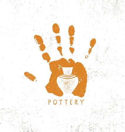 Laboratorio di ceramica di argilla fatta a mano. Concetto di segno di artigianato creativo artigianale. Illustrazione Organica Su Sfondo Ruvido Con Texture.