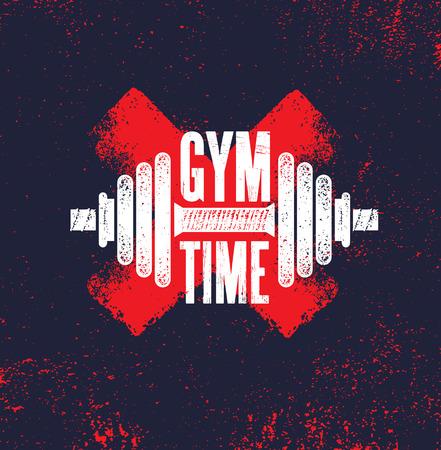Zeit im Fitnessstudio. Fitness Gym Muskeltraining Motivation Zitat Poster Vektor Konzept. Kreative mutige inspirierende Typografie-Illustration auf rauem Hintergrund der Schmutzbeschaffenheit