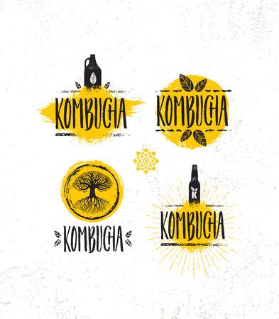 Kombucha-Tee-Brauerei-natürliches gesundes alkoholfreies Getränk-Illustrationskonzept. Bio-rohe Ernährung Lebensmittel-Vektor-Illustration auf rauen strukturierten Hintergrund.