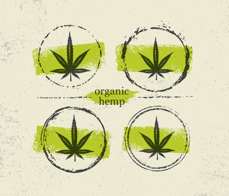 Organic Hemp Farm Raw Protein Supplement Health Care Vector Design Element. Medicine Cannabis Oil Nutrition Sign