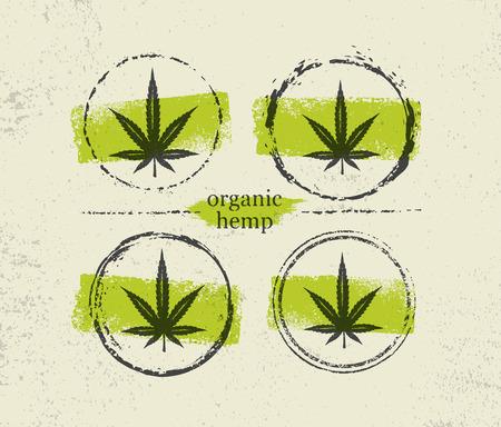 Organic Hemp Farm Raw Protein Supplement Health Care Vector Design Element. Medicine Cannabis Oil Nutrition Sign