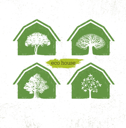 Eco Barn House Creative Vector Green Design Element. Organic Bio Concept On Natural Texture Rough Background Illustration