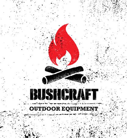 Avventura in montagna escursione Bushcraft motivazione creativa segno impostare il concetto. Progettazione all'aperto di vettore dell'attrezzatura di sopravvivenza Vettoriali