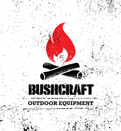 Concepto de conjunto de signo de motivación creativa de Bushcraft de caminata de montaña de aventura. Diseño al aire libre del vector del equipo de supervivencia Ilustración de vector