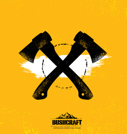 Two Axe Rough Vector Illustration On Textured Background. Lumberjack Creative Sign Concept
